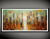 Wall Art city Landscape Large Giclee PRINT of original oil painting Large Gift Modern Home Decor Wall Art Painting Chicago New York Building