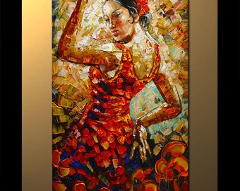 Wall Art Flamenco Passion Painting figure art on Canvas Modern Home Decor ready to hang
