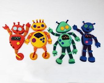 Rainbow Robots Crochet Pattern Set - Robot Crochet Pattern - Robot Amigurumi Pattern - Crochet Robot Pattern - no.183
