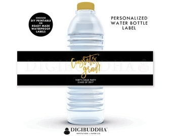 GRADUATION WATER BOTTLE Labels Grad Party Drink Stickers Labels Congrats Grad Graduate Printable or Ready Made Waterproof Labels - Tory