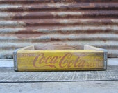 Vintage Wood Crate Coke Coca Cola Beverages Delivery Box Yellow Red Delivery Box Very Rustic AGED Distressed Industrial vtg Storage Prop