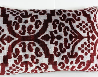 Silk Velvet Ikat Pillow Cover Lp315, Bohemian pillow, Velvet Ikat Pillow, Velvet Pillow