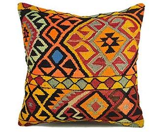 Decorative Pillows, Kilim Pillow Cover, ewkp1-15, Kilim Pillow, Kilim, Moroccan Pillow, Turkish Kilim, Bohemian Pillow, Turkish Pillow