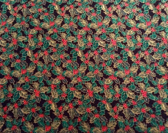UK Seller: - Holly Berries on Black Christmas Cotton Fabric Remnant - 62 inches