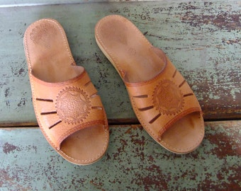 flat leather slip on shoes, leather slippers, tan sandals, slides, beach shoes