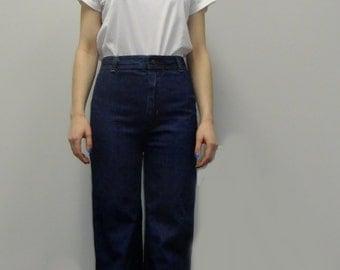 high waist straight leg  jeans / dark wash jeans / high waist trousers / 70s jeans / waist 29