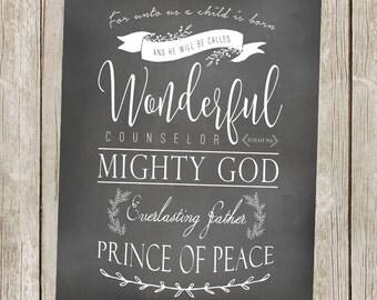 Christmas Printable/Isaiah9:6 Art - 11x14