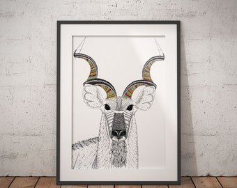 Kudu pattern animal illustration | Print | animal print | pattern print | antlers drawing | horns