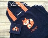 Fox Hooded Bath Towel Wrap Beach Towel Wrap Toddler Baby Children Kids Personalized - FREE MONOGRAMMING