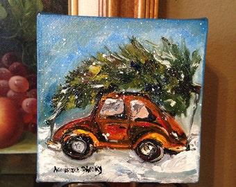 Christmas Painting, Volkswagon Beetle