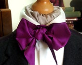 Victorian Bow Tie Cravat Ascot in Bright Purple Coloured Silk Mix Fabric