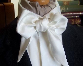 Victorian Bow Tie Cravat Ascot in Natural White 100% Silk Twill