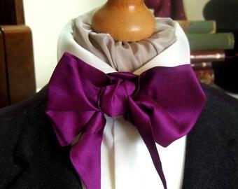 Victorian Bow Tie Cravat Ascot in Bright Purple Coloured Silk Mix Fabric
