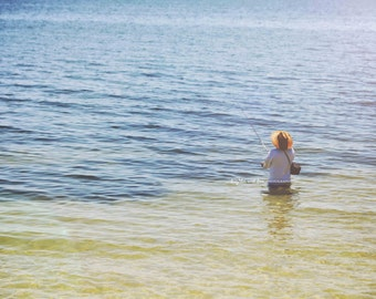 Fisherman Photo, Fishing Photography, Minimalist Nautical Art, Coastal Tropical Ocean Decor, Lake house Decor, Home Decor Wall Art