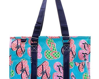 Personalized  Utility Tote Flip Flop  Print Monogrammed