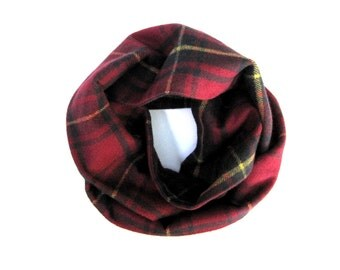 Red Plaid Scarf, Flannel Scarf, Child Scarf, Unisex Scarf, Toddler Scarf, Baby Bib Scarf, Children Clothing, Under 20 Dollars, Ready to Ship
