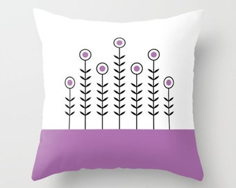 36 colours, SPRING SHOOTS Minimalist Flowers Pattern Pillow, Purple, Scandinavian style decor, Faux Down Insert, Indoor or Outdoor cover