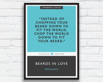 Beard Art Print, DH Lawrence print, Charcoal Black Decor, Aqua, Literary parody, Penguin Classics parody, Funny Beard Quote, Printable Art