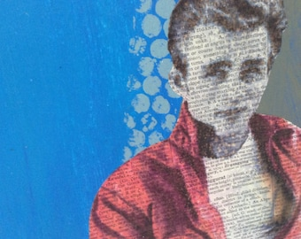 James Dean - Dictionary Art - Original mixed media collage - Rebel Without A Cause - Acrylic on Masonite - American Icon - Hollywood - 9x12