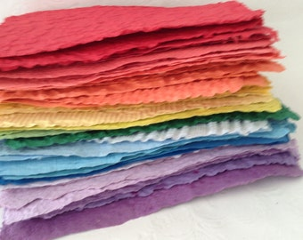 Paper Made by Hand - Recycled Paper - Handmade paper - rainbow - textured paper - deckle edges - hand papermaking art - handmade recycled