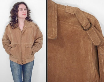 SILTON Cowhide Coat 1970s Suede Leather Tobacco Brown Unisex Men's Size 40