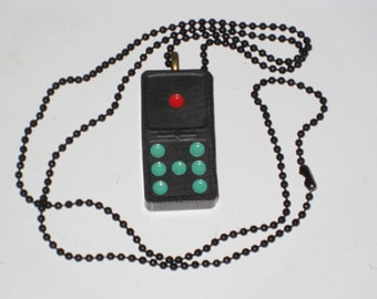 Black Domino Necklace Vintage Game Piece Jewelry 8 Dots Retro Necklace OOAK Gift