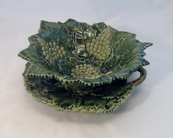 Vintage Green Majolica Pierced Bowl and Platter, Caldas Portugal