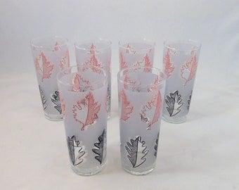 Pink and Black High Ball Glasses, Leaf Design, Set of 6