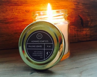 FALLING LEAVES >> soy candle/autumn/fall/handpoured/minnesota made