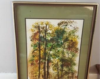 Vintage watercolor framed