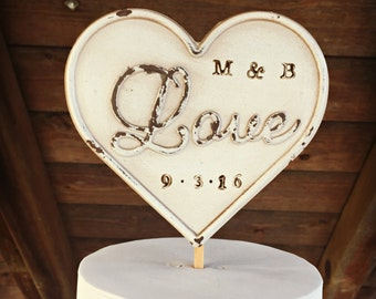Rustic Cake Topper / Cake Topper / Wedding Cake Topper / Rustic Dated Cake Topper / Distressed Cake Topper / Reclaimed Cake Topper