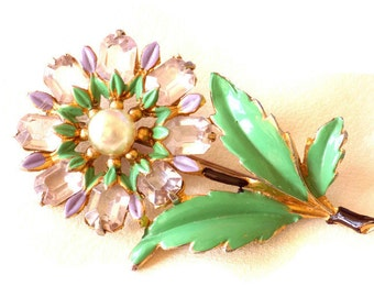 Flower Brooch Pin Stemmed Flower Lavender Open Back Rhinestones, Green and Lavender Enamel Pot Metal Faux Pearl Vintage