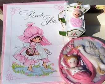 Vintage 60's -80's  Baby in Rocker Ornament, Girl Baby with Stork Pendant / Magnet, Thank you Cards
