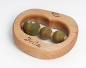 Personalized Teething Toy, Wooden Baby Toy, Organic Teether an Apple