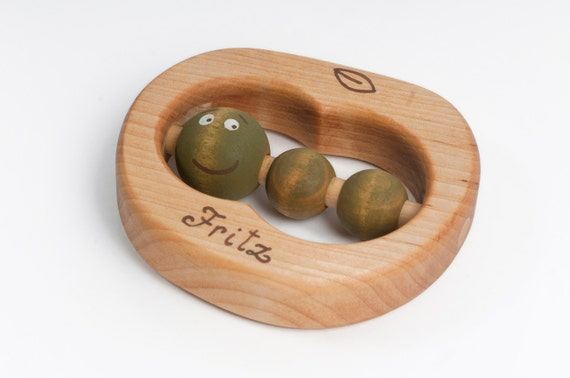 Personalized Baby Rattle, Wooden Baby Toy, Organic Teether an Apple