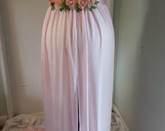 READY TO SHIP., Maternity Open Belly Gown, Photo Prop, Pink Gown Waist Sash Combo