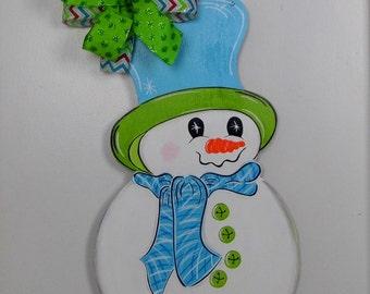 Snowman Door Hanger, Christmas Door Hanger, Winter Door Hanger, Snowman, Blue Hat, Snow Days