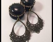 PICK SIZE Black peal Filigree Baby Doll  Custom Dangle ear plugs gauges