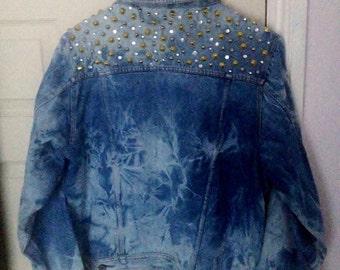 SALE // studded and bedazzled ACIDWASH denim jacket, MEDIUM