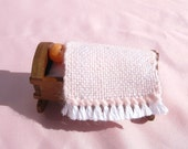 Dollhouse Baby Blanket Miniature Handwoven Pink Baby Blanket Dollhouse Crib Blanket Miniature Nursery Blanket Miniature Pink Dollhouse Rug