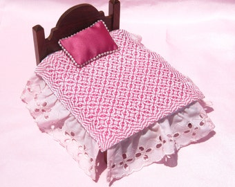Dollhouse Coverlet Miniature Handwoven Coverlet Deep Pink Periwinkle Coverlet 12th Scale Blanket Small Doll Bedding Miniature Pink Bedding