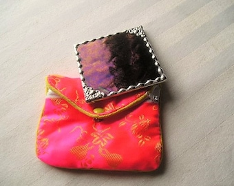 Stained Glass Purse Mirror|Pocket Mirror|Decorative Corners|Black|Iridescent|Bath & Beauty|Makeup Tool|Handcrafted|Made in USA
