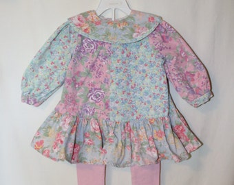 Vintage Gorgeous Toddler Girl Floral Block pattern Dress/Tunic with matching pink leggings, Size 3T Little Girls