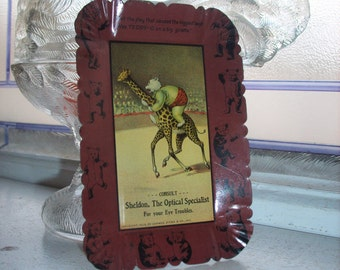 Antique 1906 Tip Tray Teddy-G On a Giraffe Tin Lithograph Roosevelt Bears Advertising Tray