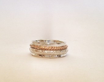 Spinner Ring - Silver Ring - Mixed Metal Silver Band