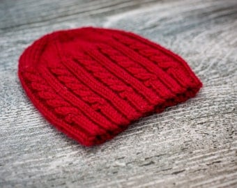 Baby Cable Beanie Hat, Ruby Red, Size 0-3 months, UK Seller, Baby Gift, Ready to Ship