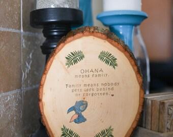 Wood slice Ohana art