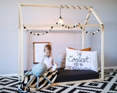 Toddler House Bed - CRIB Size, Made in the USA, Wood Bed, Nursery, Crib Mattress, home, wooden, natural wood, modern, floor bed,