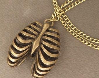 Bronze Anatomical Rib Cage Necklace - Alternative Jewellery - Goth Pendant Necklace - Zombie Apocalypse Jewelry