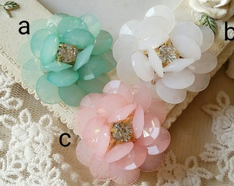 30 mm Acrylic with Rhinestone Flower Cabochons (t.s)